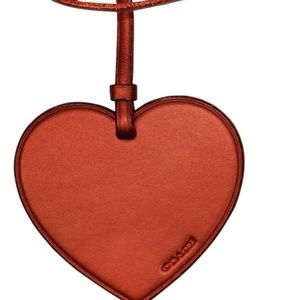 COACH Bag Luggage Charm Heart Ornament Metallic